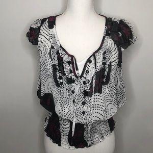 XOXO elastic bottom ruffle blouse small